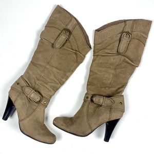 Guess Taupe Suede Heeled Boots